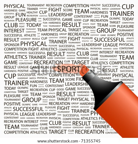 SPORT. Highlighter over background with different association terms. Vector illustration. - stock vector