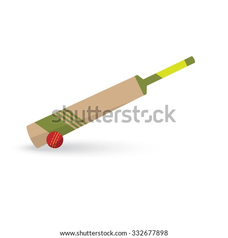 Sport icon.? Cricket flat style bit and ball icon - stock vector