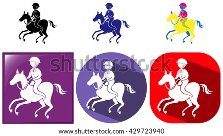 Sport icon design for equestrain on badges illustration