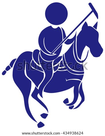 Sport icon for polo in blue illustration
