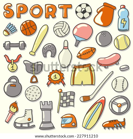 Sport icon set. Hand drawn vector illustration. - stock vector