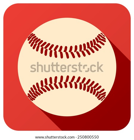 Sport icon with baseball ball in flat style. Vector illustration isolated on white background. - stock vector