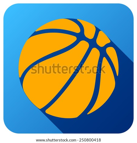 Sport icon with basketball ball in flat style. Vector illustration isolated on white background. - stock vector