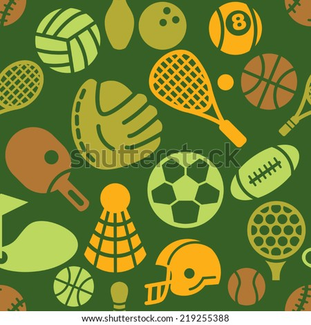 Sport Icons in Seamless Background - stock vector