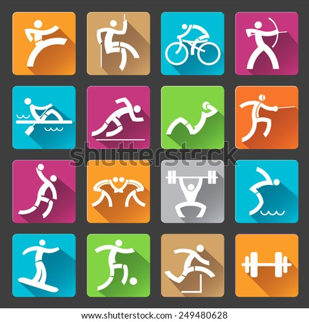 Sport icons long shadows. Set of colorful trendy icons with long shadow with sport and fitness activities for web or mobile phone application. Vector illustration.