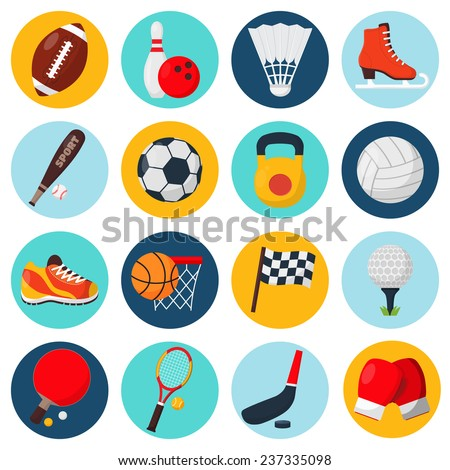 Sport icons set with soccer golf table tennis balls gloves skate bowling equipment isolated vector illustration - stock vector