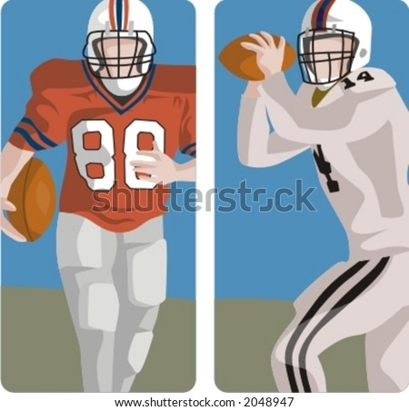 Sport illustrations series. A set of 2 american football illustrations. - stock vector
