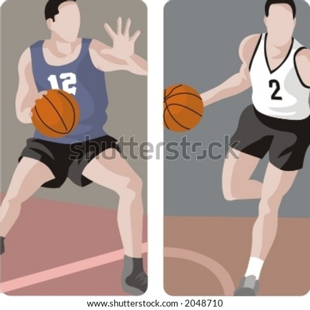 Sport illustrations series. A set of 2 basketball illustrations. - stock vector
