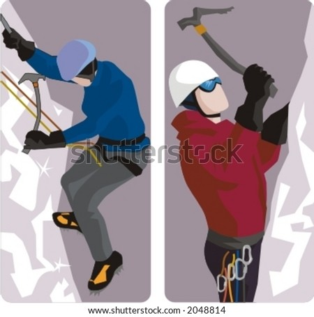 Sport illustrations series. A set of 2 climber illustrations. - stock vector