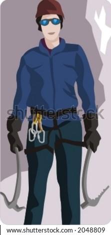 Sport illustrations series. Climber illustration. - stock vector