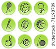 sport items icon set - stock vector