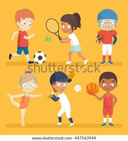 Sport kids playing football, tennis, baseball, basketball and others. - stock vector