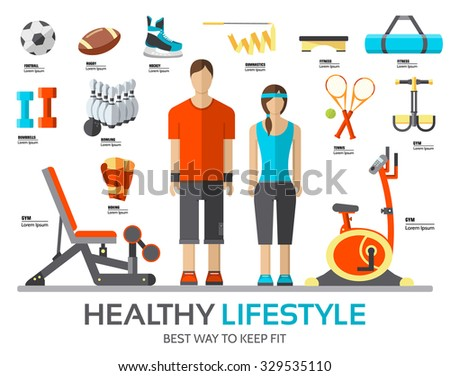 Sport life stile infographic with gym device, equipment and items. Training apparatus on a flat design style. Vector illustration workout concept icons set - stock vector