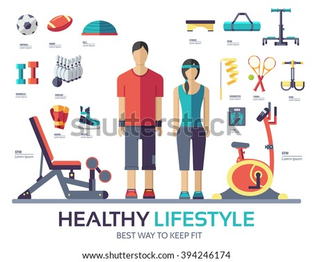 Sport life style infographic device equipment. Fitness icon. Fitness logo. Fitness typography. Fitness flat. Fitness gym. Fitness exercise. Fitness yoga. Health fitness. Fitness woman. Fitness man - stock vector