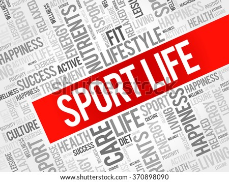 Sport Life word cloud background, health concept