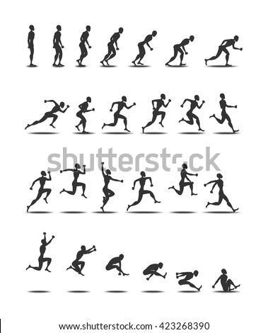 Sport logo black silhouette light athletics triple  jumping people