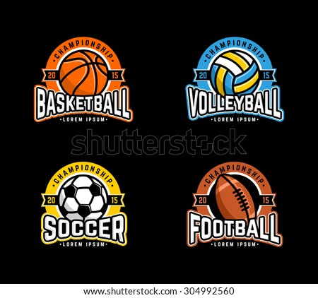Sport logo set. Basketball, Volleyball, Soccer, Football. - stock vector