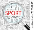 SPORT. Magnifying glass over background with different association terms. Vector illustration. - stock vector