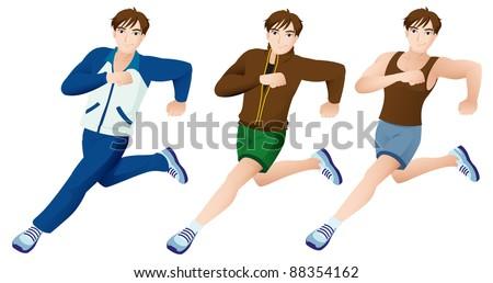 Sport Mascot Male Running Set - stock vector