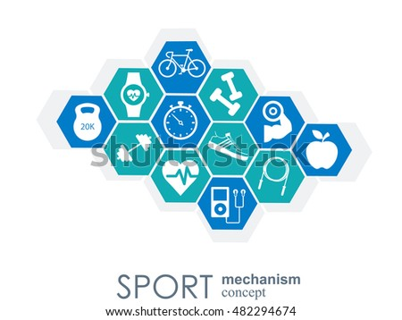 Sport mechanism concept. Football, basketball, volleyball, ball concepts. Abstract background with connected objects. Vector illustration.