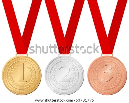 Sport medals on a white background. Vector illustration.