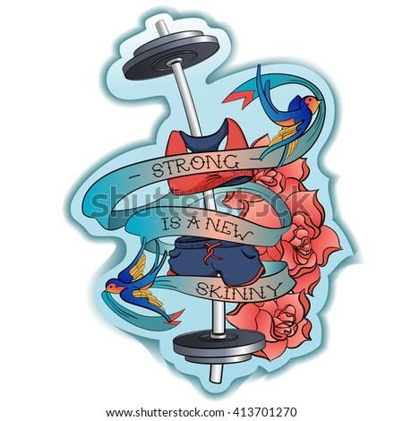 Sport motivation for girls tattoo vector illustration - stock vector