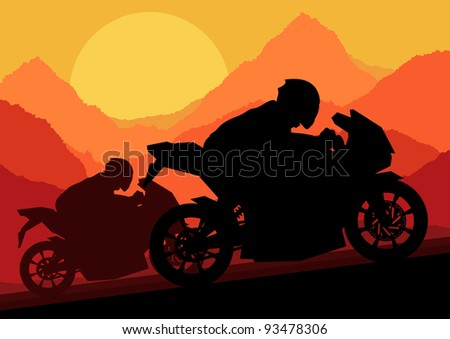Sport motorbike riders motorcycle silhouettes in wild mountain landscape background illustration vector - stock vector