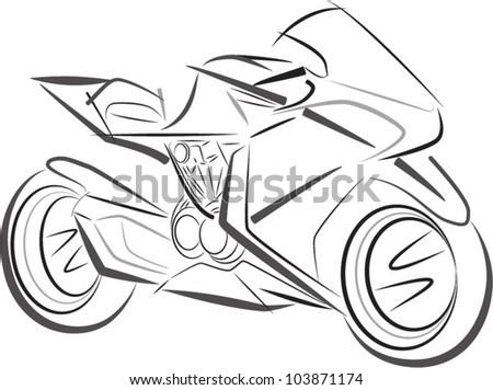 Sport motorbike vector sketch - stock vector