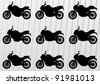 Sport motorbikes silhouettes illustration collection background vector - stock vector