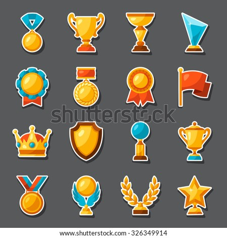 Sport or business award sticker icons set.