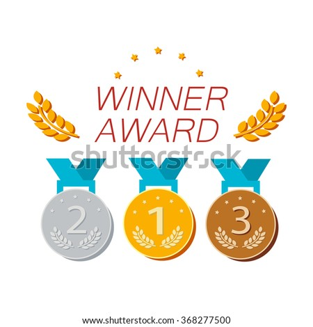 Sport or business trophy award flat icons set