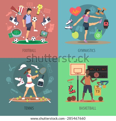 Sport people design concept set with football gymnastics tennis and basketball flat icons isolated vector illustration - stock vector