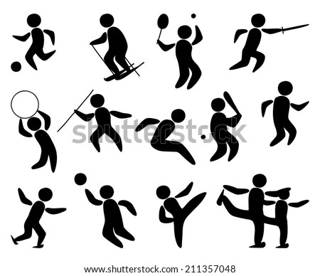 Sport People Silhouette - stock vector