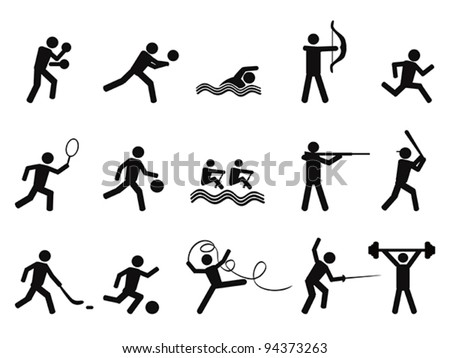 sport people silhouettes icon - stock vector