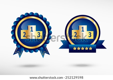 Sport podium stylish quality guarantee badges. Blue colorful promotional labels - stock vector