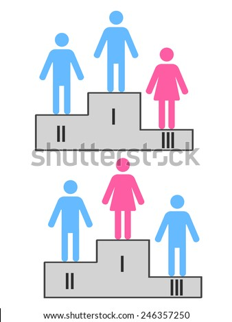 sport podium with male and female figures as winners - stock vector