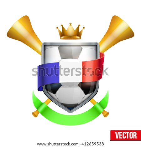 Sport Poster with Football Ball, France flag ribbon and golden vuvuzela. Sporting Matches. Vector isolated on white background. - stock vector