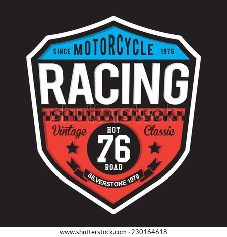 Sport racing typography, t-shirt graphics, vectors - stock vector