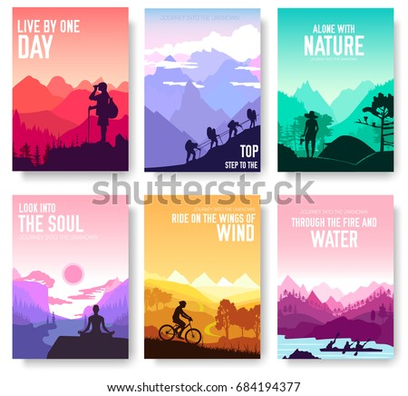Sport rest day vector brochure cards set.  Tourism on nature template of flyear, magazines, poster, book cover, banners. Active lifestyle invitation concept background. Layout illustration modern page