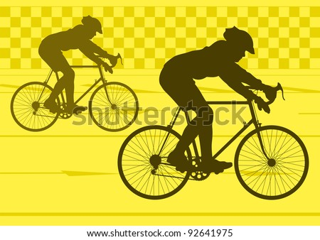 Sport road bike riders bicycle silhouettes in urban city road background illustration vector