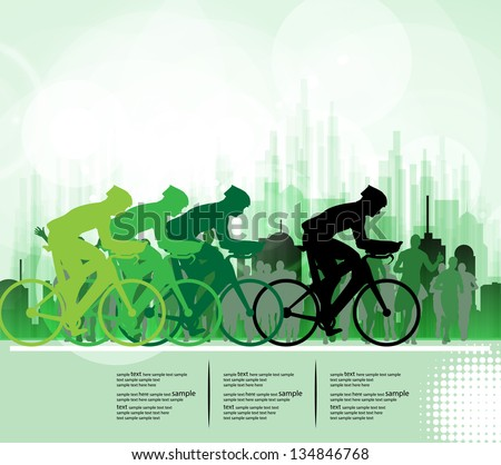 Sport road bike riders bicycle. Vector - stock vector