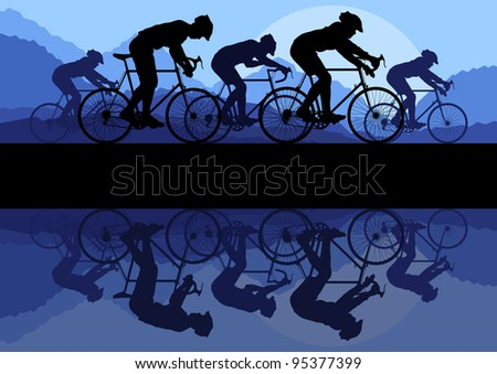 Sport road bike riders bicycles silhouettes in wild mountain nature landscape background illustration vector - stock vector