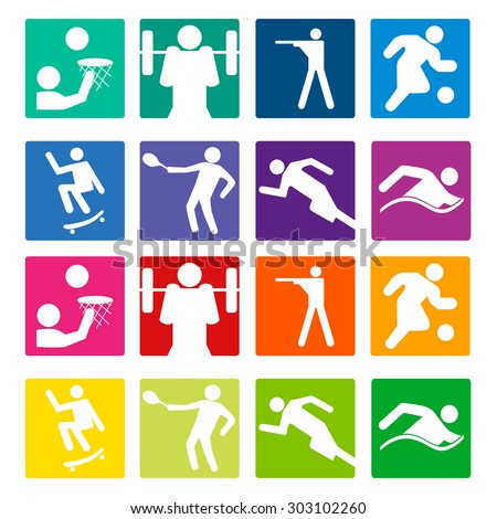 Sport set icon. Players of different sports. Vector - stock vector