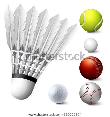 Sport set with birdie and balls illustration