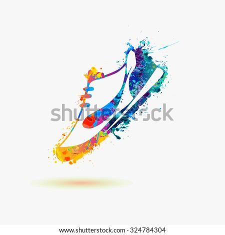 Sport shoe - sneakers. Rainbow paint - stock vector
