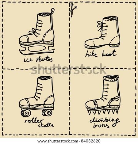 sport shoes doodle set - stock vector