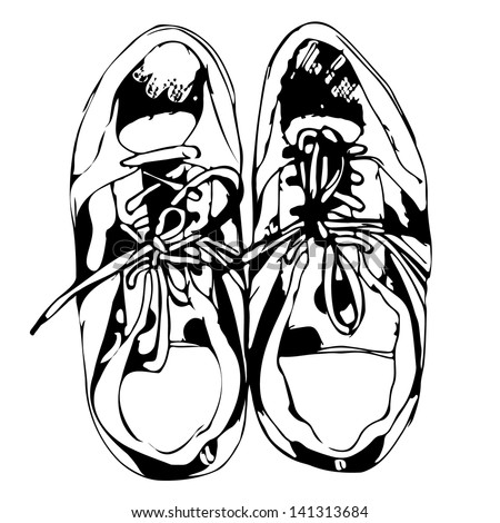 Sport shoes freehand sketch in black and white background, vector illustration - stock vector