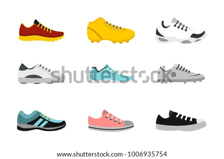 Sport shoes icon set. Flat set of sport shoes vector icons for web design isolated on white background
