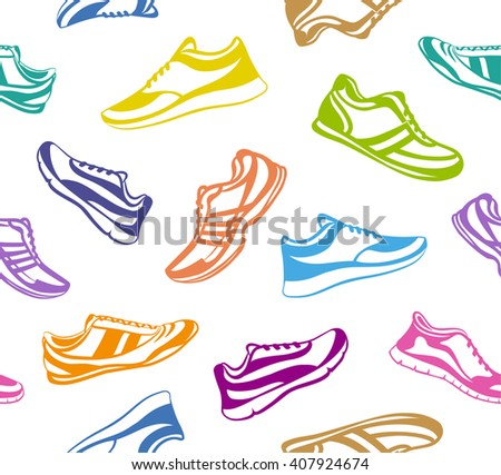 Sport Shoes Seamless Pattern. Fitness Shoes Texture. Indoor, Outdoor, Running, Fitness, Tennis, Walking, Training Sport Sneakers.