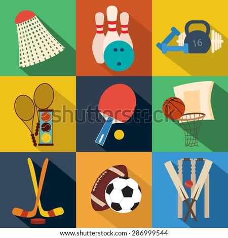 Sport signs, symbols, button, logo, emblem. Flat vector - stock vector